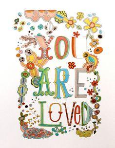 You Are Loved art print 11x14 por pamg en Etsy, $23.00