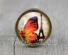 Love in Paris Glass Cabochon Bronze cabinet Dresser by jade4wood
