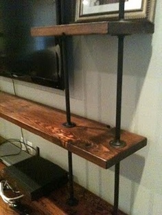 pipe shelving. Going to be doing this for our closet shelving.