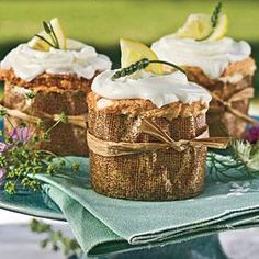 Make cupcakes with an angel food cake batter and fill the cakes with a tangy lemon curd. Top with cream cheese frosting and garnish with sprigs of lavender and lemon slices. For an impressive presentation, wrap the cupcakes in small pieces of burlap cloth or parchment paper and tie with raffia,
