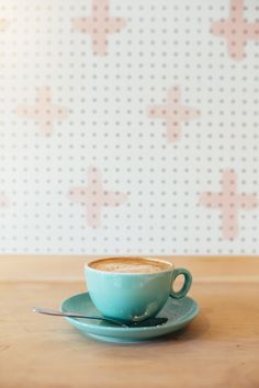 pastel coffee cup, pegboard, pink crosses, 400 rabbits pizza restaurant