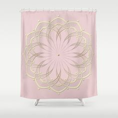 Pink Shower Curtain Dusty Pink and Gold by DesignbyJuliaBars