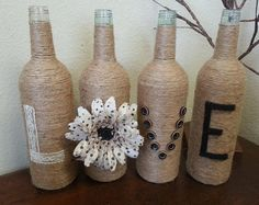 Twine Wine Bottles by alittlebitoffun on Etsy