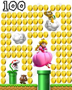Super Mario Princess Peach 100 Coins Iron on Transfer - Make your own custom T-Shirts, Pajamas, Sweatshirts , Tote bags, Pillow Cases and much more! with Iron-On Transfers from TopIronOns!This iron on transfer comes with full instructions and is so ea