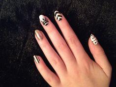 Black, white & gold nails