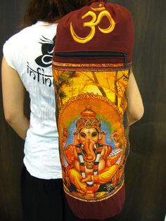 Maroon Embroidered Ohm + Ganesha Print Cotton & Hemp Yoga Mat Bag