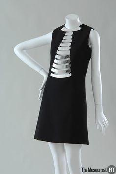 Dress Designer: Pierre Cardin 1922- Medium: Black wool crepe and polished steel plates Date: 1968