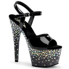 Blk/Blk (Slv Hologram Stars) 7 Heel, 2 Ankl : Sexy High Heel shoes and boots, Highheels for Men Crossdressers, sexy shoes for women 7 Inch Heels, Piercings, Grunge, Shoe Boots, Shoes Heels, Stiletto Heels, Pumps, Stripper Heels, Star Shoes