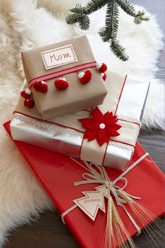 Why not collect a range of decorations as you go in matching colours for your Christmas wrapping - like in this image you can make pretty variations