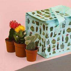 Neverita diseño cactus. Color azul celeste con varias ilustraciones propias de cactus. Ideal para llevar a pequeños picnics o excursiones. #cactus #neverita #parque