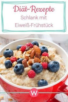 Protein breakfast for weight loss: Slim thanks to proteins- Eiweiß-Frühstück zum Abnehmen: Schlank dank Proteinen With these protein recipes you take in the morning enough proteins to you and take off! Protein Desserts, Healthy Protein, Protein Snacks, Protein Recipes, Protein Smoothies, Protein Breakfast, Health Breakfast, Breakfast Recipes, Side Dishes