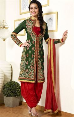 Gorgeous Green Color Fashion Designer Bollywood Salwar Suit