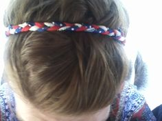 Fourth of July, homemade headband with ribbons found around the house #DIY #MERICA #4th