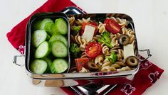 Pizza Pasta Salad 'Za best school lunch ever! From Laura Fuentes, tossing our go-to pizza toppings with last night's extra pasta is a quick and colorful way to spice up those brown bags. Let older kids mix in their own favorites and this one will quickly work it's way into the weekly rotation. We're not hiding the fact that we take this with us to the office too.