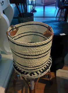 White w/black stripes basket Black Stripes, Basket, Coffee, Decor, Kaffee, Decoration, Cup Of Coffee, Decorating, Deco