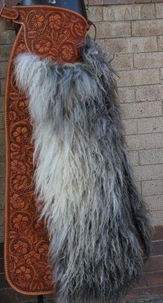 Tooled leather woolies from customcowboyshop.com