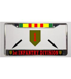 Show your service pride on your car or truck with this durable Army 1st Infantry Division + Vietnam Ribbon Metal License Plate Frame. These metal license plate frames are good looking, made in the USA and brushed with a chrome finish.