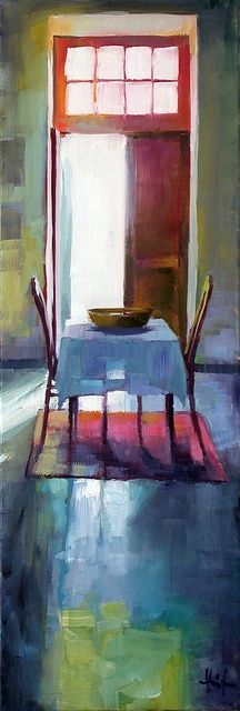 The reflections on the floor and sensation of seeing shadows through the tablecloth show such skill. LIZA HIRST Summer in France