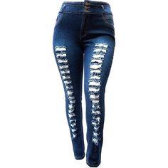4fbdf8c7b50 Jack David Womens Plus Size High Waist Distressed Ripped Blue Denim Jeans  Pants