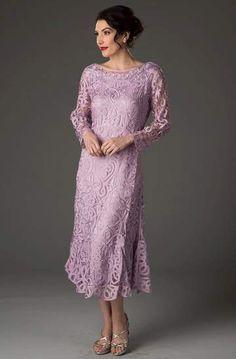 Soulmates - D1423 Tea Length Dress – Couture Candy Calf Length Dress, Tea Length Dresses, Mother Of Groom Dresses, Mother Of The Bride, Long Sleeve Evening Gowns, Crochet Lace Dress, Hand Crochet, Column Dress, Couture Dresses
