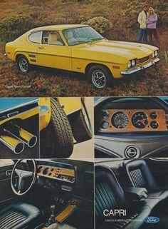 1972 Ford Sport Coupe Capri Car Ad Yellow Automobile Photo Vintage Advertising Print, Wall Art Decor