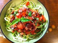 Raw Zucchini Noodle Puttanesca! By: Alexis Moniello for the FullyRaw Kristina Recipe Competition! Recipe in Comments :)