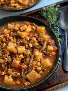 This hearty Cowboy Hamburger soup will warm you from the inside out. Using common ingredients this soup is healthy with no added sugar. #glutenfree #dairyfree #soup #slowcooker Corn Recipes, Dinner Recipes, Potato Corn Chowder, Hamburger Stew, Fire Roasted Tomatoes, Healthy Family Meals, Healthy Eating, Clean Eating