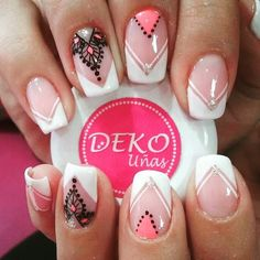 Instagram Image Fancy Nails, Love Nails, Pink Nails, Pretty Nails, My Nails, White Nails, Mandala Nails, French Tip Nails, Nail Studio