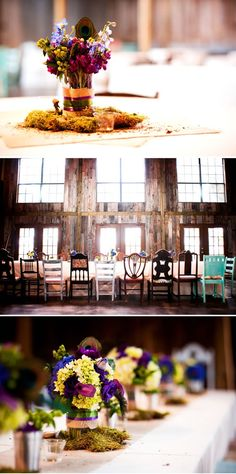 Country Rustic Wedding. Love all the different rustic chairs