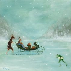 Art Print of an Original Animal Painting: The Czarinas Sleigh Ride    This is a digital print of my original oil on canvas painting, The Czarinas