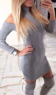 Grey Cut Out High Neck Long Sleeve Off Shoulder Sweater Mini Dress Pretty Outfits, Fall Outfits, Cute Outfits, Sexy Outfits, Fashion 2017, Trendy Fashion, Fashion Outfits, 21st Birthday Outfits, Sweater Dress Outfit
