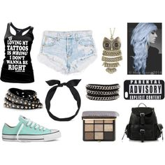 2 by night-elves on Polyvore featuring Mode, Converse, UNIF, yunotme and Bobbi Brown Cosmetics