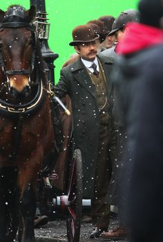 Benedict Cumberbatch and Martin Freeman film a scene for the 'Sherlock' Christmas special in London - February 2015
