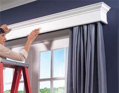 to Build Window Cornices DIY Window Cornice Coverings to cover up or enhance dull curtain rods and windows.DIY Window Cornice Coverings to cover up or enhance dull curtain rods and windows. Diy Curtain Rods, Diy Curtains, Drapery Rods, Window Curtains, Wooden Window Valance, Bedroom Curtains, Curtain Box, French Curtains, Curtains Living