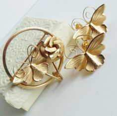 Vintage Giovanni Art Deco Butterfly Brooch & by normajeanscloset, $29.99