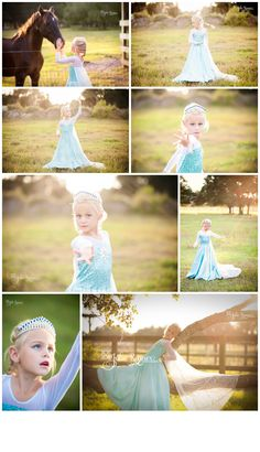 Elsa from Disney's Frozen photo session. Beautiful field at sunset she dances and performs the scenes from the movie. Just magical. www.julierennerphotography.com