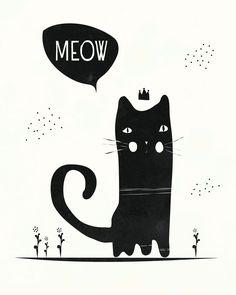 Black Cat Illustration - 8x10 - black and white baby nursery art.