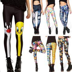 Crazy Leggings, Women's Leggings, Harajuku, Floral Leggings, Printed Leggings, Cartoon Adventure Time, Cheshire Cat Leggings, Steampunk Leggings, Skeleton Leggings