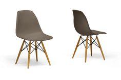 Skylar Side Chairs - Set of 2 The simplicity of these retro taupe shell chairs will instantly bring some modernity to any space but are classic enough to blend into any decor. The Skylar Side Chairs are crafted from ultra-durable molded plastic with an ergonomically-shaped curved seat. The pencil legs are made from sustainable Rubberwood and have a gorgeous natural finish.  Material: Rubberwood/Plastic | Color: Taupe $298.00 + Free Nationwide Shipping
