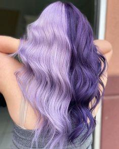 Half Colored Hair, Half Dyed Hair, Half And Half Hair, Split Dyed Hair, Dyed Hair Purple, Hair Color Purple, Hair Dye Colors, Dye My Hair, Colored Hair Styles