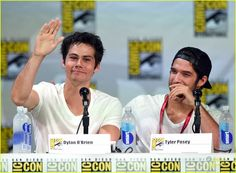 Dylan O'Brien and Tyler Posey at the #TeenWolf Comic Con 2014 Panel