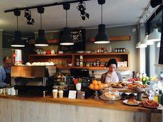 Pretty Cuppa - Just Opened London Little's Coffee, Coffee Shop, White Wash Walls, London Brick, London Brands, High Stool, Brick Lane, Liquor Cabinet, Diners