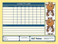 Guinea Pig Pet Care Chart - customizable, other pet chart options (limited). I might use this as inspiration to design our own.