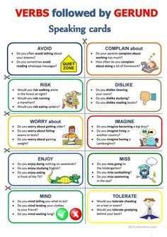 GERUND - Speaking cards worksheet - Free ESL printable worksheets made by teachers English Teaching Materials, Teaching English Grammar, English Writing Skills, English Vocabulary Words, Learn English Words, English Language Learning, English Lessons, Learn English Speaking, German Language