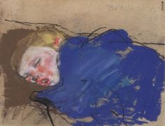 BOY SLEEPING IN BLUE, Joan Eardley RSA (British, 1921-1963), Pastel on paper.