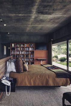 dark distressed walls in modern bedroom / sfgirlbybay