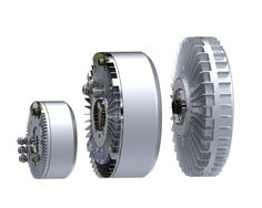Side by side view of direct drive in-wheel electric motors: XR20-12 in-wheel motor for automatic guided vehicle, XR32-13 for heavy duty off-highway vehicle and XR32-11 in-wheel motor for car.