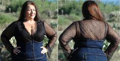 "Princess Stretch Black ""Denim""/Black Lace Top"