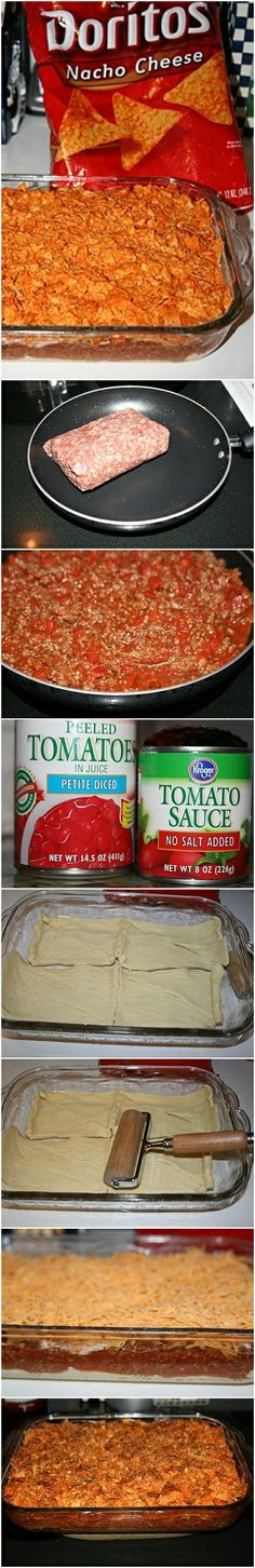 I make this but with tomato paste&taco seasoning in the meat, & taco doritos. Put lettuce & other toppings on. So good (: