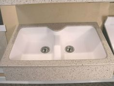 Molded White Solid Surface Double Bowl Sink By Synmar U0026 Castech # Solidsurface #solidsurfacecountertop #